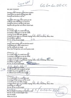 We Are Tonight (Billy Currington) Capo 4th - Guitar Chord Chart with Lyrics - http://www.youtube.com/munsonmusiclive