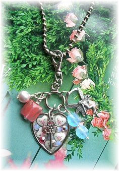 Vintage Guilloche Enamel Heart Charm Necklace by TheVintageHeart, $26.00
