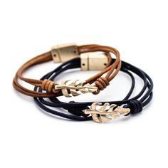 Leaf leather bracelet – Imsmistyle.