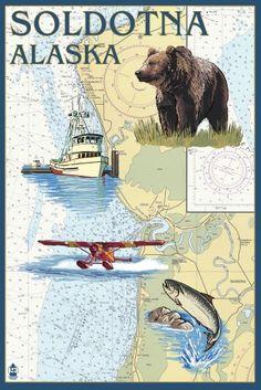 Soldotna, Alaska - Nautical Chart - Lantern Press Artwork (12x18 Gallery Quality Metal Art), Multi