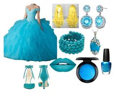 """Cinderella Dress"" by mizuki-gudgen on Polyvore featuring Nine West, Kenneth Jay Lane, OPI, MAC Cosmetics and Forever 21"