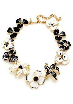 KENNETH JAY LANE Black/White Flower Necklace