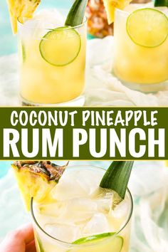 This tropical pineapple coconut rum punch is sweet and a perfect drink for a party! Drinking this cocktail will make you feel like you're at the beach! Sip your way to the beach with this tropical pineapple coconut rum punch! Pineapple Rum Drinks, Coconut Rum Drinks, Pineapple Punch, Pineapple Coconut, Pineapple Cocktail, Tropical Alcoholic Drinks, Tropical Drink Recipes, Malibu Coconut, Rum Punch Recipes