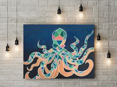 Geometric octopus painting with my signature color blocking. Acrylic paint on canvas.   Dimensions: 40x30in
