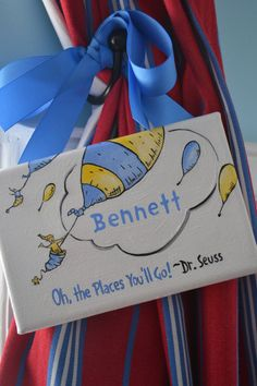 Personalized Dr Seuss 4x6 Mini Hanging Canvas Painting Oh The Places Youll Go Yellow And Blue Hot Air Balloon With Grossin Ribbon