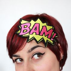 Headband Comic BAM Onomatopoeia Headband Yellow and by JanineBasil, £15.00