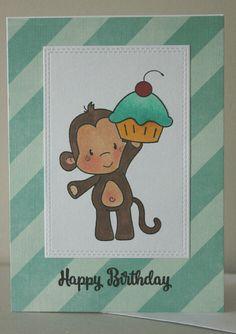 Greeting Card Handmade, Birthday Card Child, Child Birthday Card, Monkey Birthday Card, Cupcake Birthday Card by GluePaperScissorsCA on Etsy