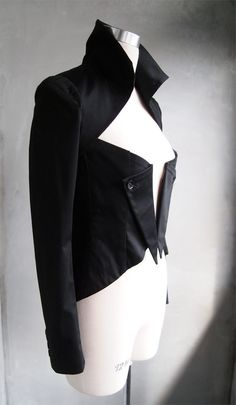 Stand Collar With Pleated Shoulder Black  by VivacitaBoutique, $215.00