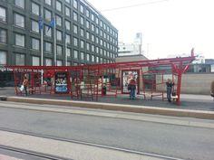 A design tram-stop near Kamppi Center. By Stefan Lindfors. Light Rail, Helsinki, Street View, Statues, Design, Effigy, Design Comics
