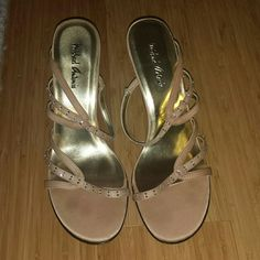 Champagne Sandals Champagne colored strappy sandals feature rhinestones and 2 inch heels. Worn once. Perfect for special occasions.  Size 8.5M. Does not come with box.  No trades. Michael Antonio Shoes Sandals
