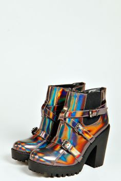 Maddie Holographic Buckle chunky Boot at boohoo.com