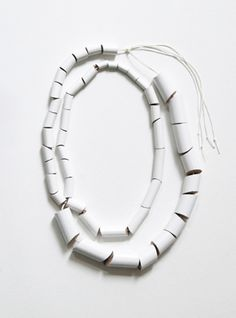 Djurdjica Kesic 'Meanders - Necklace #3' Pine, Enamel paint, Silk.