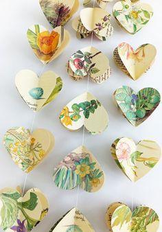 3D Heart garland, 3D bunting, wedding decor, heart banner, heart bunting, paper hearts £10