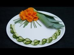 How to make Carrot Flowers | Carving Vegetables | Decoration with Cucumber - YouTube