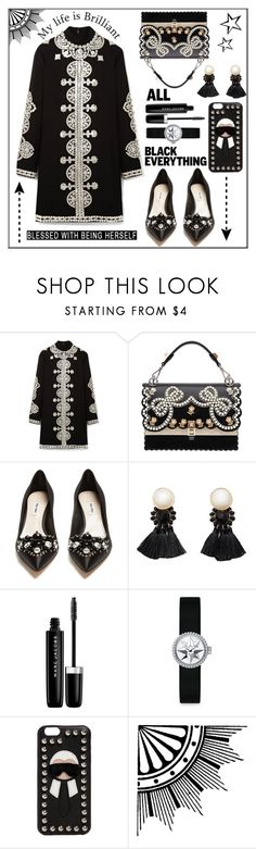 """""""Mission Monochrome: All Black Outfit"""" by pat912 ❤ liked on Polyvore featuring Tory Burch, Fendi, Miu Miu, MANGO, Marc Jacobs, Christian Dior, polyvoreeditorial and allblackoutfit"""