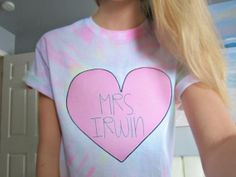 Mrs. Irwin 5SOS Five Seconds Of Summer Ashton Irwin Pink Heart Hand Dyed Pastel Tie-Dye Short Sleeved TShirt Unisex Adult Size S,M,L,&XL
