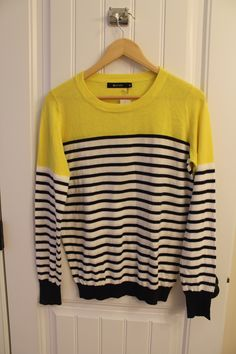 Yellow and Blue Rowson Colorblock Striped Sweater #StitchFix
