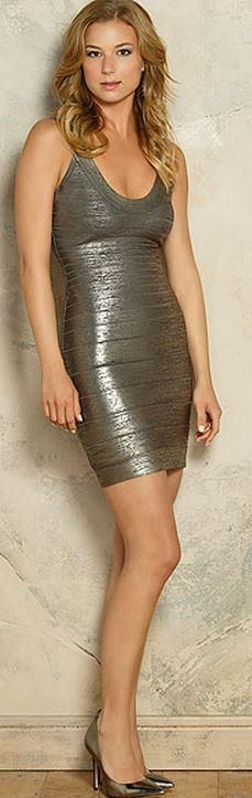 Who made Emily VanCamp's gold dress? Dress – Herve Leger