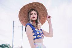 Crochet sunflower crop top