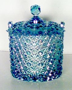 """Fenton """"Buttons & Bows"""" Blue Satin Covered Candy Dish. WOW!"""
