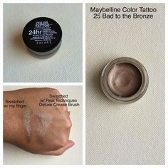 Maybelline color tattoo 25 bad to the bronze review and swatch
