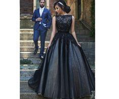 A-line prom dresses, black prom dresses, lace prom dresses, evening dresses, black wedding dresses#SIMIBridal #promdresses