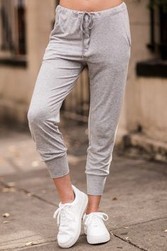 Inside And Out Grey Jogger Pants at reddressboutique.com