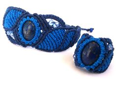 Macrame Set/ Bracelet and Ring with Lapis Lazuli Cabochons Macrame Jewelry, Macrame Bracelets, Macrame Dress, Micro Macrame, Lapis Lazuli, Turquoise Bracelet, Wax, Crochet, Earrings