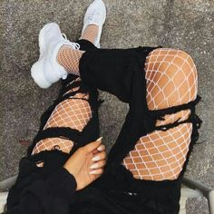 Street Outfit Chic White Fishnet Tights Sexy Jeans-mate Mesh Pantyhose – Lupsona