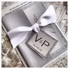 Silver  Glitter Wedding Invitation and RSVP Set by VPElegance, $5.35
