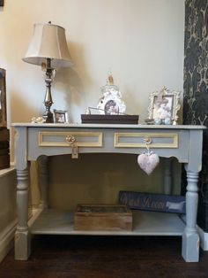 Pine console. #ChalkPaint Paris Grey  Cream | by Pomponette | Leicester | SOLD