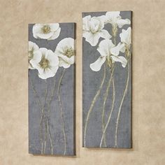 Modern Flowers Canvas Wall Art Multi Cool Set of Two