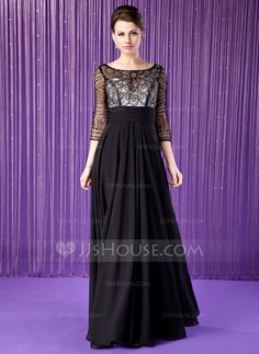 A-Line/Princess Scoop Neck Floor-Length Chiffon Tulle Mother of the Bride Dress With Beading Sequins (008018940)