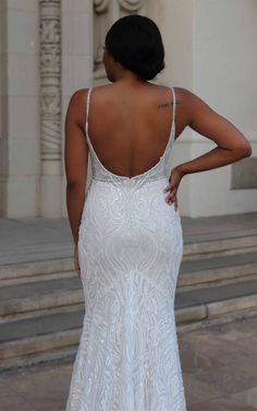 Graphic Lace Fit-and-Flare Wedding Dress with Sequins and Beading - Martina Liana Wedding Dresses Elegant Wedding Dress, Dream Wedding Dresses, Designer Wedding Dresses, Lace Wedding, Couture Wedding Gowns, Bridal Gowns, Beaded Gown, Lace Design, Dream Dress
