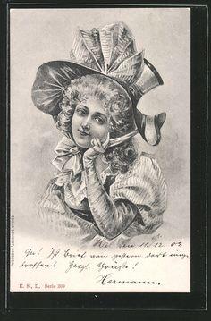 old postcard: AK Junge Frau mit Haube, Schleife und Puffärmelkleid