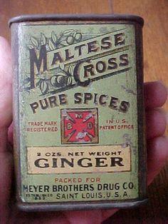 MALTESE Cross GINGER Spice TIn Can Meyer Bros Drug Co St Louis MO #MalteseCross