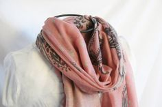 Soft Pink and Charcoal Paisley Print Fashion Scarf by loviebaker, $15.00