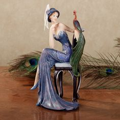 Majestic Beauty Lady with Peacock Figurine