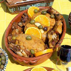 Traditional pork food of Alentejo (migas à alentejana). Portugal