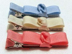 Baby Blue and Pink Tie Bow Hair Clip