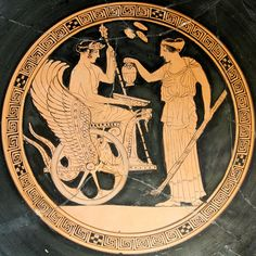 Persephone stands at right. On the left is Triptolemus, another agrarian deity. With Persephone and Demeter he makes up the Eleusinian trinity Ancient Greek Art, Ancient Greece, Persephone, Art Romain, Objets Antiques, Greek Pantheon, Greek Pottery, Art Antique, Roman Art