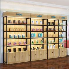 Choose best Makeup store shelf display yellow wall fashion suppliers and best makeup store shelf manufacturers. Cosmetic Display, Cosmetic Shop, Cosmetic Stores, Supermarket Design, Retail Store Design, Supermarket Shelves, Retail Display Shelves, Store Displays, Store Shelving