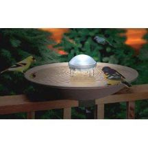"""Keep your water from being stagnant with a water wiggler so the birds come, but the mosquitoes stay away. Aurora features a gradually changing rainbow of colors that casts a soft glow for 3 hours each night. Operates with two """"D"""" cell batteries, not included Dimensions: 8"""" x 8"""" x 8"""""""