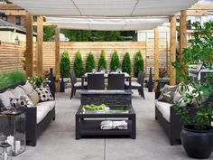 Patio ~ Love the privacy fence as textural and color change