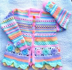 So, Sew Jo played around with different stitches, and a friends idea of making a jacket. Crochet Baby Cardigan, Crochet Baby Boots, Baby Girl Crochet, Crochet Baby Clothes, Crochet For Kids, Knit Crochet, Baby Patterns, Knitting Patterns, Crochet Patterns