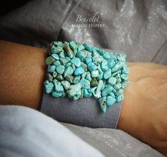 szara z turkusem - bransoletka w FlowerFelt Design na DaWanda.com