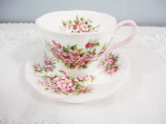 Royal Albert Apple Blossom Bone China Teacup & Saucer. $30.00/pr at AllDressedUpHome on etsy, 3/13/16