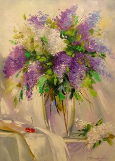 Buy Prints of A bouquet of lilacs, a Oil on Canvas by Olha Darchuk from Ukraine. It portrays: Floral, relevant to: painting, canvas, stil life, flowers, lilac, oil A bouquet of lilacs,oil painting on canvas in white wooden frame,100% handmade palette knife,this painting will decorate your interior and will delight you and your loved ones. Ready to hang