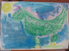 Dinosaurs. Pencil, Crayons, Watercolor.