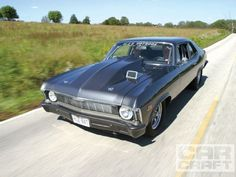 The bored and blown 509 in this 1969 Chevy Nova produces 1,450HP and is good for low-8s.
